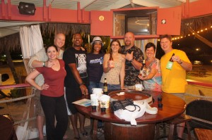 Caribbean Soul Trekkers, RumShopRyan and the Castaways on our first night on the island
