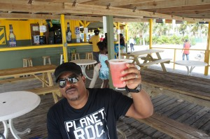Mango Eddie prearing for conch at Billy Joe's on the Beach