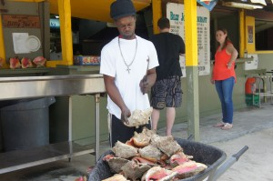 Preparing conch at Billy Joe's