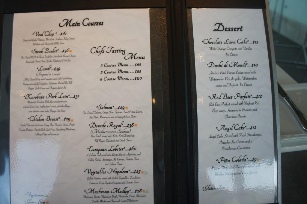 The innovative menu at Aruba's White Modern Restaurant