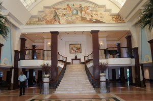 The lobby of the British Colonial Hilton