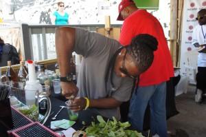 Creating Bacardi's Pineapply Mojito at Rum Festival Bahamas 2014
