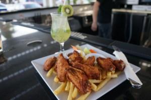 Kiwi Mojito and Chicken Wings Aruba Sandbar