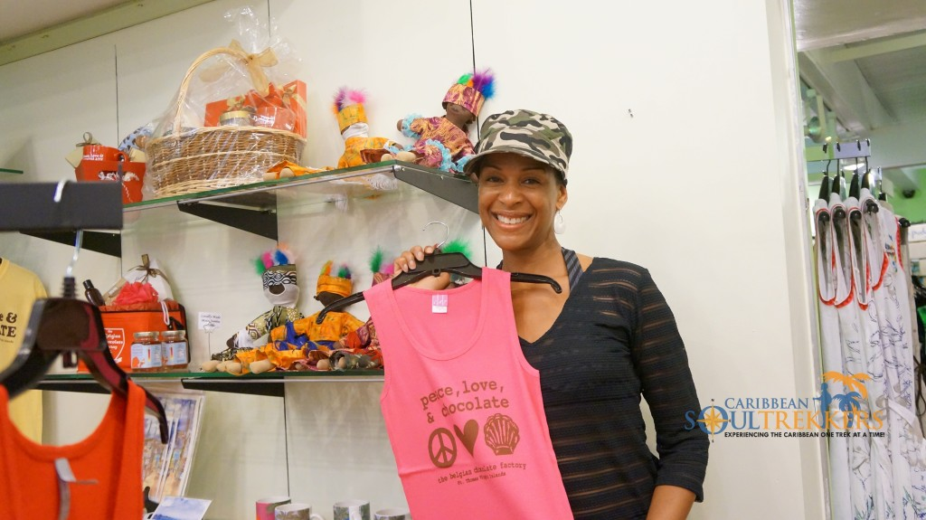 Peace, Love and Chocolate clothing at the Belgian Chocolate Factory, St. Thomas