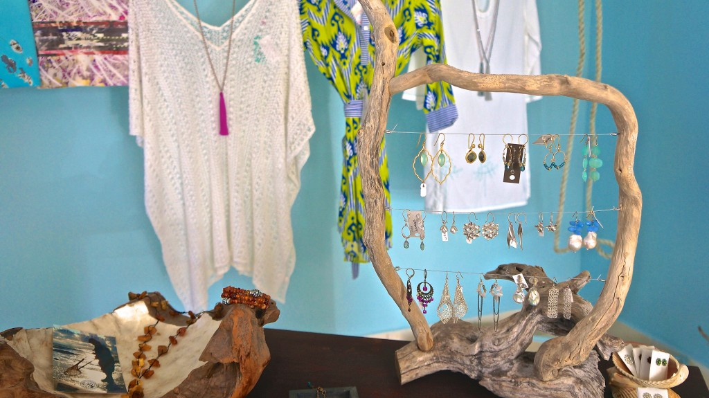 At Limin' jeweler creatively displayed on driftwood