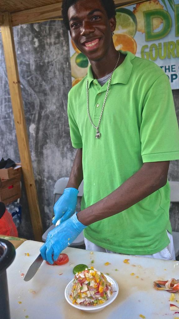 Making conch salad at Festival Rum Bahamas 2015